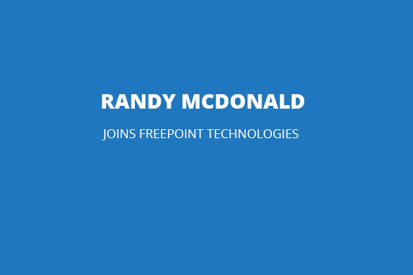 randy mcdonald joins freepoint technologies card blue background white text