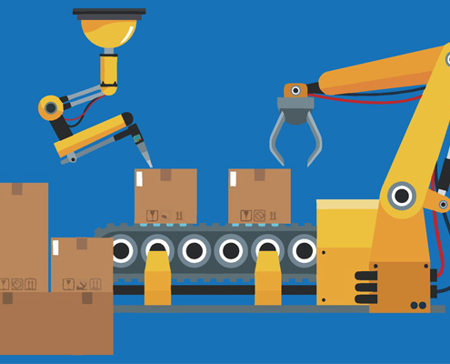 cartoon robotic arms boxes packaging conveyor belt freepoint technologies