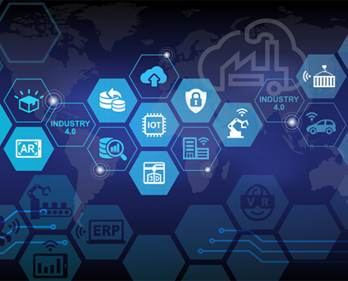 blue hexagons with various images in them in front of a faint world map industry 4.0 freepoint technologies