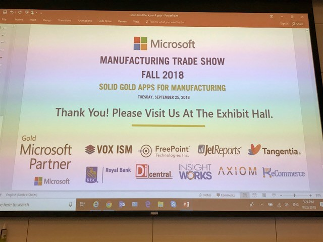 slideshow microsoft manufacturing trade show fall 2018 VOX freepoint technologies jetreports tangentia royal bank dicentral insight works axiom recommerce