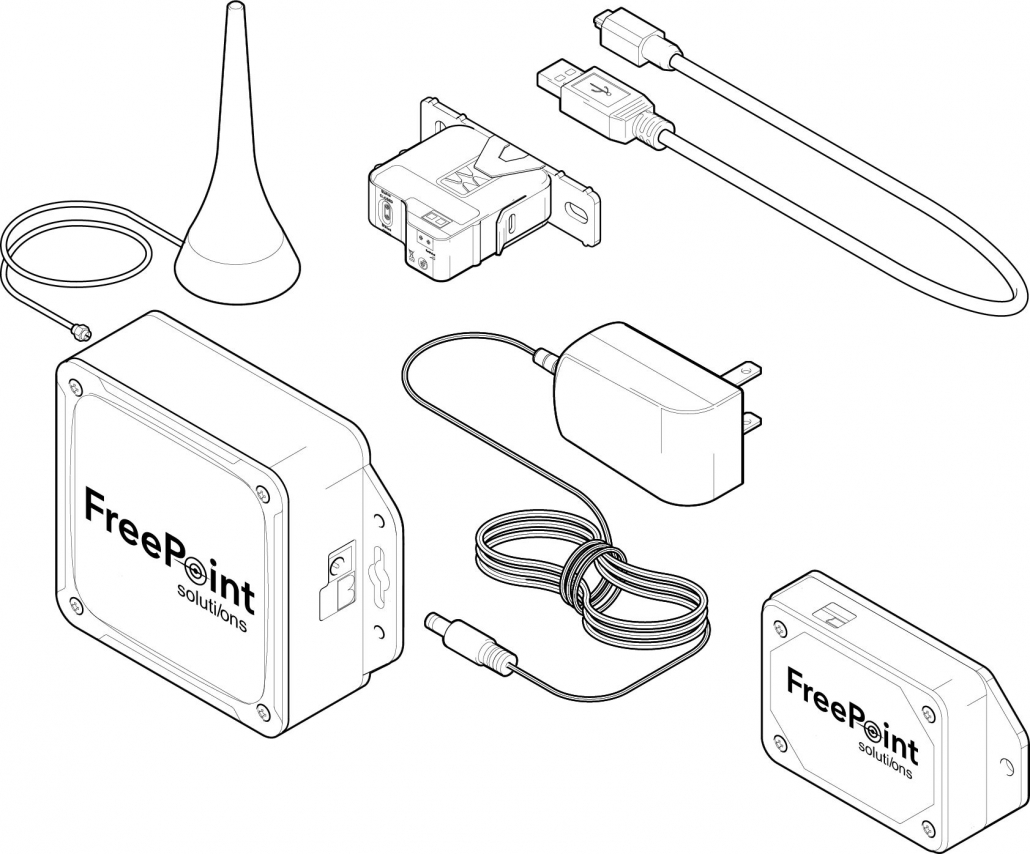 Graphic showing the entire FreePoint Getting Started Kit