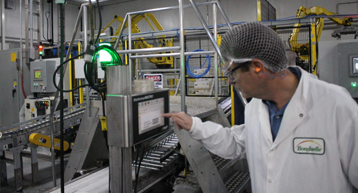 Machine operator engaging with manufacturing innovation technologies
